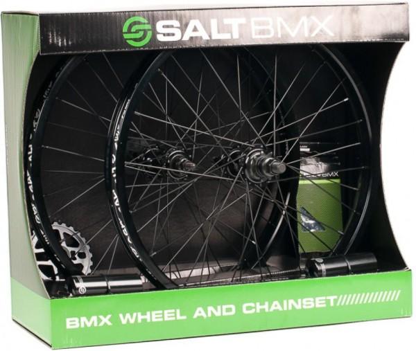 SaltBMX Valon Kit Laufräder, Kettenblatt, Kette, Pegs, schwarz